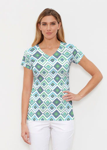 Cubed Blue (7807) ~ Signature Cap Sleeve V-Neck Shirt