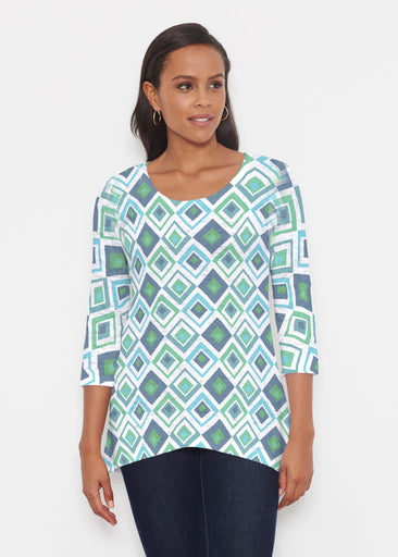 Cubed Blue (7807) ~ Katherine Hi-Lo Thermal Tunic