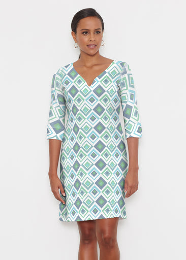 Cubed Blue (7807) ~ Classic 3/4 Sleeve Sweet Heart V-Neck Dress
