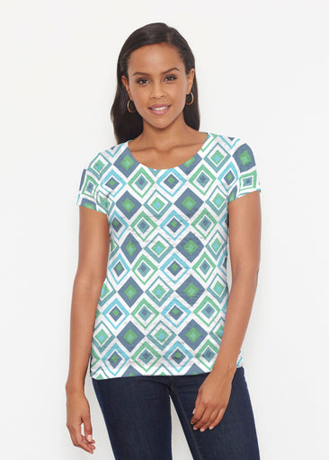 Cubed Blue (7807) ~ Signature Short Sleeve Scoop Shirt