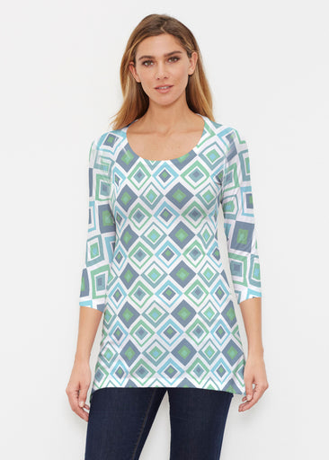 Cubed Blue (7807) ~ Buttersoft 3/4 Sleeve Tunic