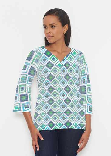 Cubed Blue (7807) ~ Banded 3/4 Bell-Sleeve V-Neck Tunic