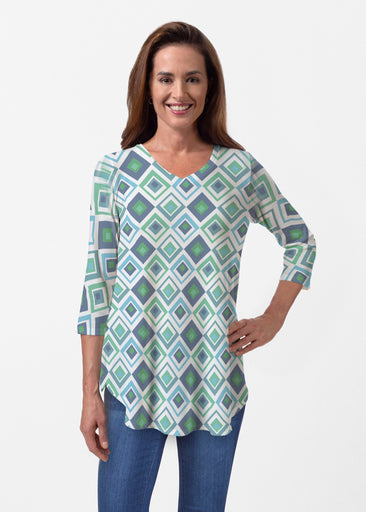 Cubed Blue (7807) ~ Butterknit V-neck Flowy Tunic