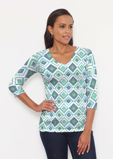 Cubed Blue (7807) ~ Signature 3/4 V-Neck Shirt