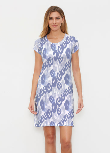 Royal Blue Ikat (7808) ~ Classic Crew Dress