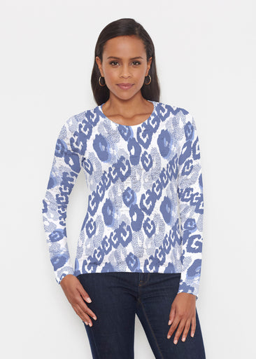 Royal Blue Ikat (7808) ~ Signature Long Sleeve Crew Shirt
