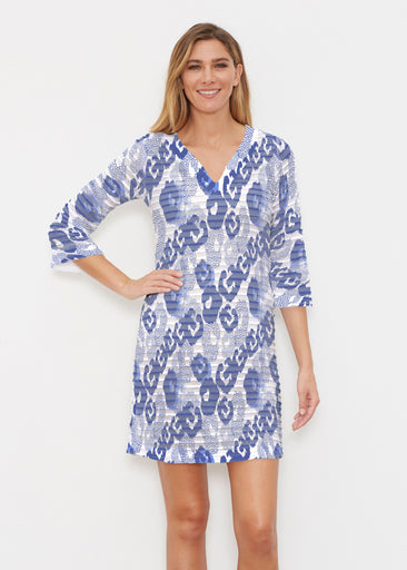 Royal Blue Ikat (7808) ~ Banded 3/4 Sleeve Cover-up Dress