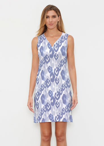 Royal Blue Ikat (7808) ~ Classic Sleeveless Dress