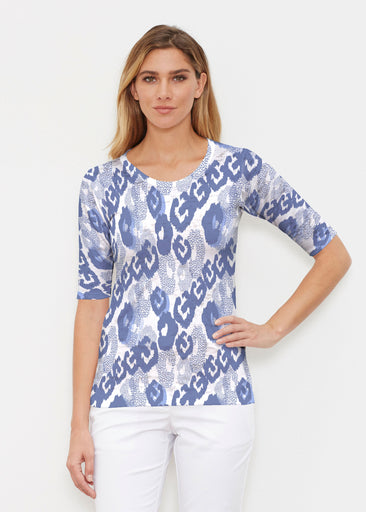 Royal Blue Ikat (7808) ~ Signature Elbow Sleeve Crew Shirt