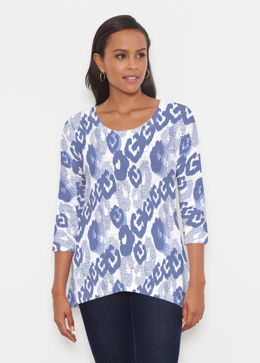 Royal Blue Ikat (7808) ~ Katherine Hi-Lo Thermal Tunic