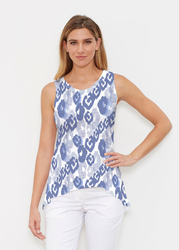 Royal Blue Ikat (7808) ~ Signature High-low Tank