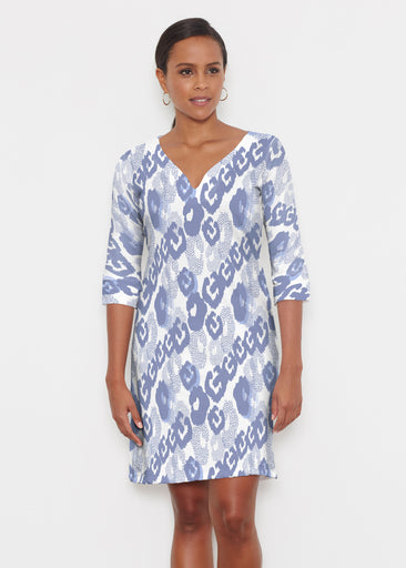 Royal Blue Ikat (7808) ~ Classic 3/4 Sleeve Sweet Heart V-Neck Dress