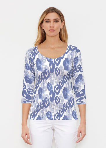 Royal Blue Ikat (7808) ~ Signature 3/4 Sleeve Scoop Shirt