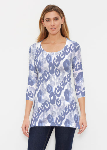 Royal Blue Ikat (7808) ~ Buttersoft 3/4 Sleeve Tunic