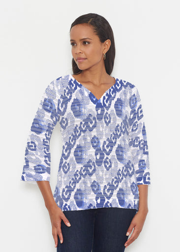 Royal Blue Ikat (7808) ~ Banded 3/4 Bell-Sleeve V-Neck Tunic