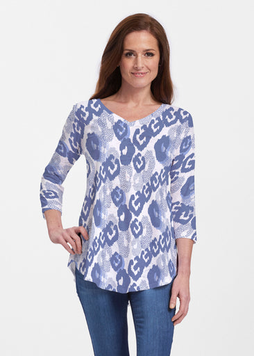 Royal Blue Ikat (7808) ~ Signature V-neck Flowy Tunic