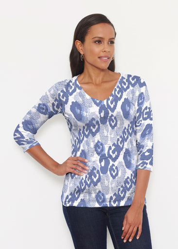 Royal Blue Ikat (7808) ~ Signature 3/4 V-Neck Shirt