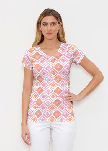 Cubed Pink (7809) ~ Signature Cap Sleeve V-Neck Shirt