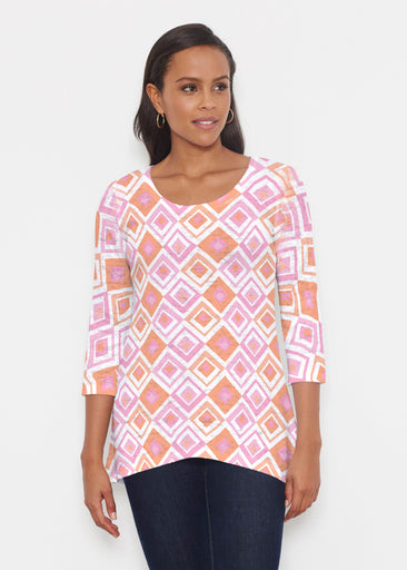 Cubed Pink (7809) ~ Katherine Hi-Lo Thermal Tunic