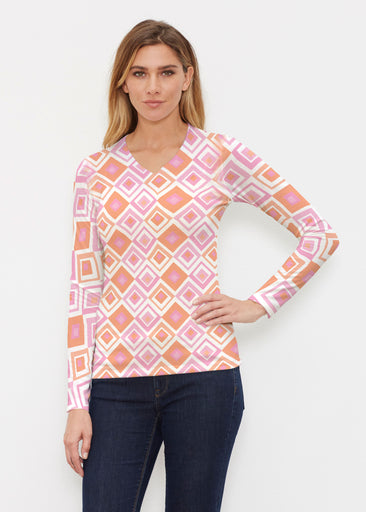 Cubed Pink (7809) ~ Butterknit Long Sleeve V-Neck Top