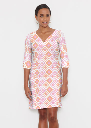 Cubed Pink (7809) ~ Classic 3/4 Sleeve Sweet Heart V-Neck Dress