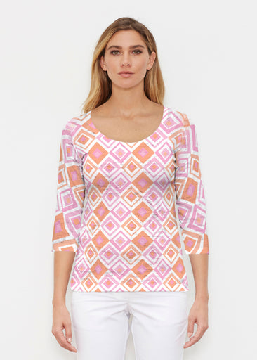 Cubed Pink (7809) ~ Signature 3/4 Sleeve Scoop Shirt