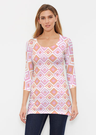 Cubed Pink (7809) ~ Buttersoft 3/4 Sleeve Tunic
