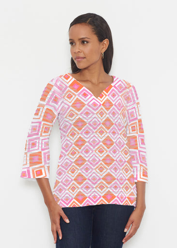 Cubed Pink (7809) ~ Banded 3/4 Bell-Sleeve V-Neck Tunic