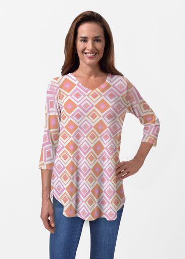 Cubed Pink (7809) ~ Butterknit V-neck Flowy Tunic