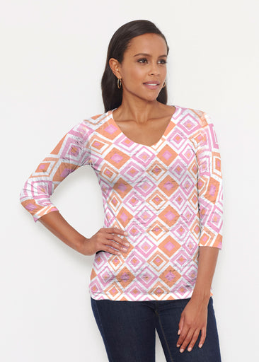 Cubed Pink (7809) ~ Signature 3/4 V-Neck Shirt