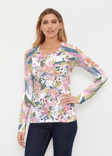 Floral Leopard (7810) ~ Thermal Long Sleeve Crew Shirt