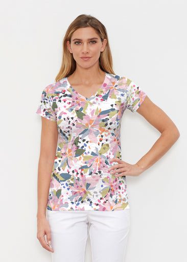 Floral Leopard (7810) ~ Signature Cap Sleeve V-Neck Shirt
