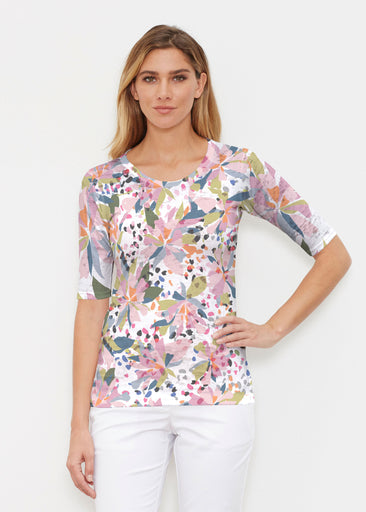 Floral Leopard (7810) ~ Signature Elbow Sleeve Crew Shirt