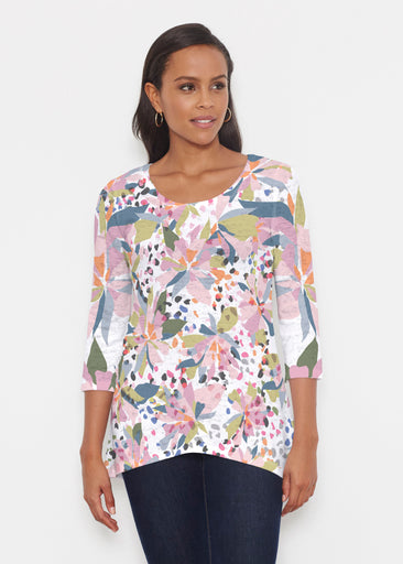 Floral Leopard (7810) ~ Katherine Hi-Lo Thermal Tunic