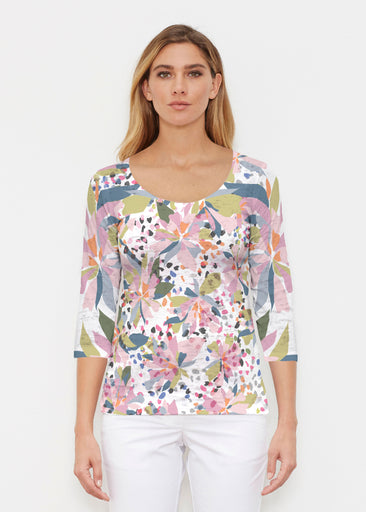 Floral Leopard (7810) ~ Signature 3/4 Sleeve Scoop Shirt