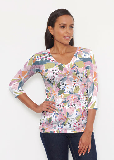 Floral Leopard (7810) ~ Signature 3/4 V-Neck Shirt