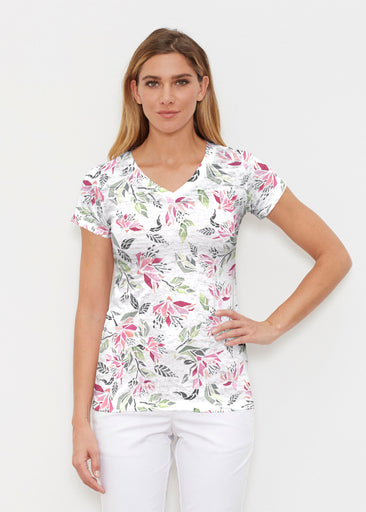 Coral Blooms (7812) ~ Signature Cap Sleeve V-Neck Shirt