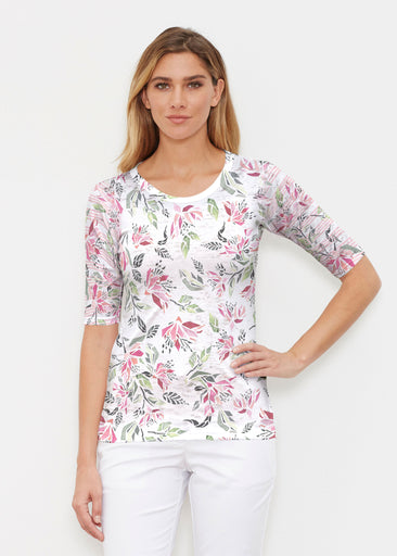 Coral Blooms (7812) ~ Signature Elbow Sleeve Crew Shirt