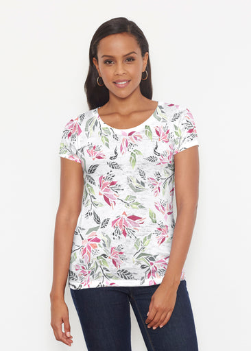 Coral Blooms (7812) ~ Signature Short Sleeve Scoop Shirt