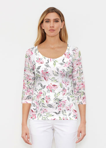 Coral Blooms (7812) ~ Signature 3/4 Sleeve Scoop Shirt