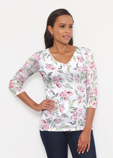 Coral Blooms (7812) ~ Signature 3/4 V-Neck Shirt