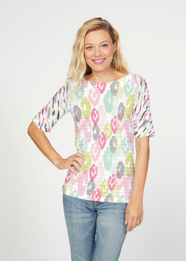 Abstract Pastel Ikat (7813) ~ Banded Elbow Sleeve Boat Neck Top