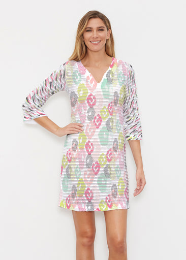 Abstract Pastel Ikat (7813) ~ Banded 3/4 Sleeve Cover-up Dress