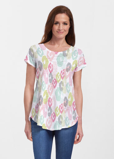 Abstract Pastel Ikat (7813) ~ Signature Short Sleeve Scoop Neck Flowy Tunic