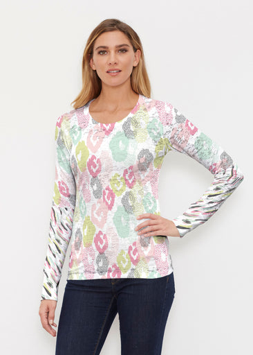 Abstract Pastel Ikat (7813) ~ Thermal Long Sleeve Crew Shirt