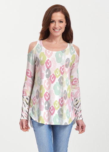 Abstract Pastel Ikat (7813) ~ Butterknit Cold Shoulder Tunic