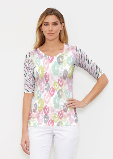 Abstract Pastel Ikat (7813) ~ Signature Elbow Sleeve Crew Shirt