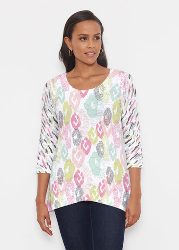 Abstract Pastel Ikat (7813) ~ Katherine Hi-Lo Thermal Tunic