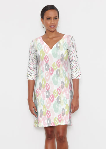 Abstract Pastel Ikat (7813) ~ Classic 3/4 Sleeve Sweet Heart V-Neck Dress