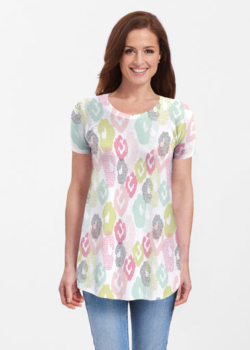 Abstract Pastel Ikat (7813) ~ Butterknit Short Sleeve Tunic